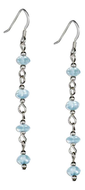 Long Link Strand Four Blue Topaz Chips Dangle Earrings