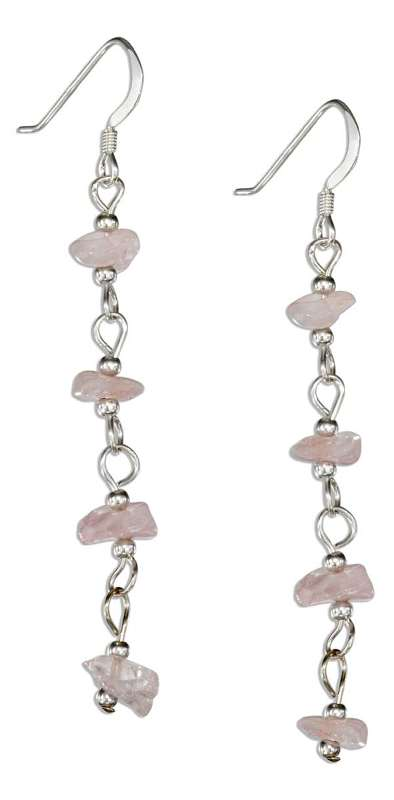 Long Link Strand Four Pink Rose Quartz Chips Dangle Earrings