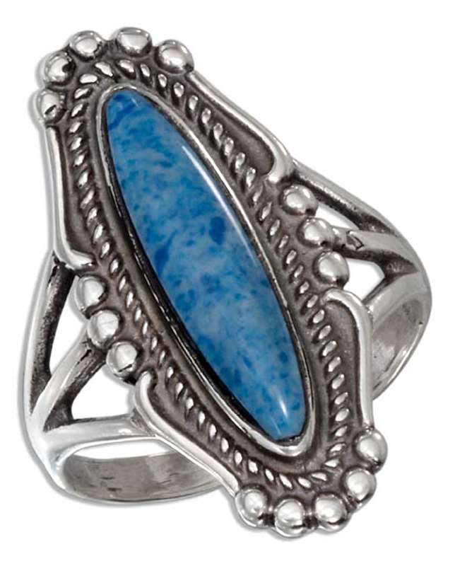 Long Oval Denim Lapis Ring
