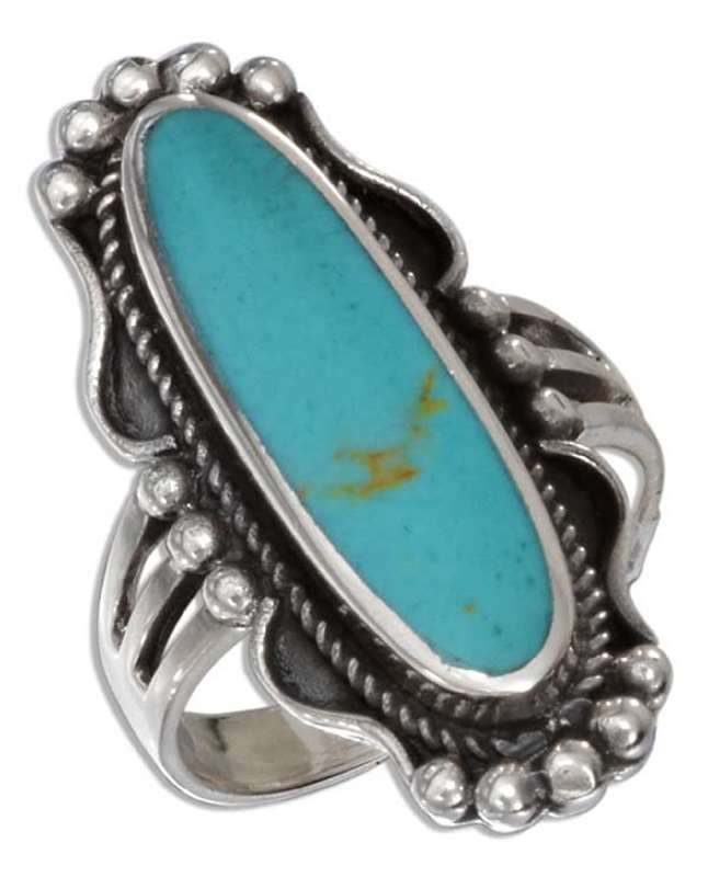 Rope Beaded Edging Long Turquoise Ring