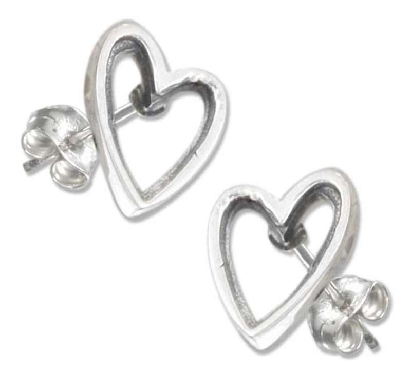 Lopsided Heart Post Earrings