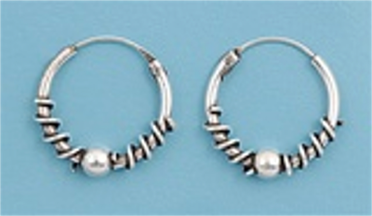 "12mm (15/32"") Wide Wrap Wire Ball Charm Tubular Endless Hoop Earrings"