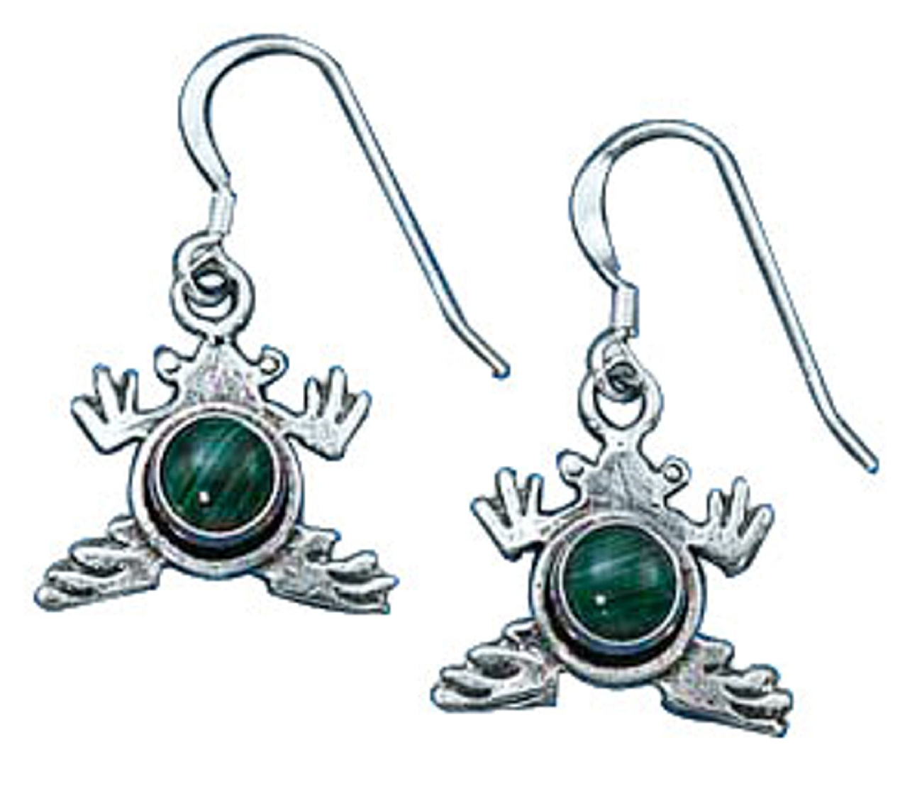 Malachite Frog Earrings