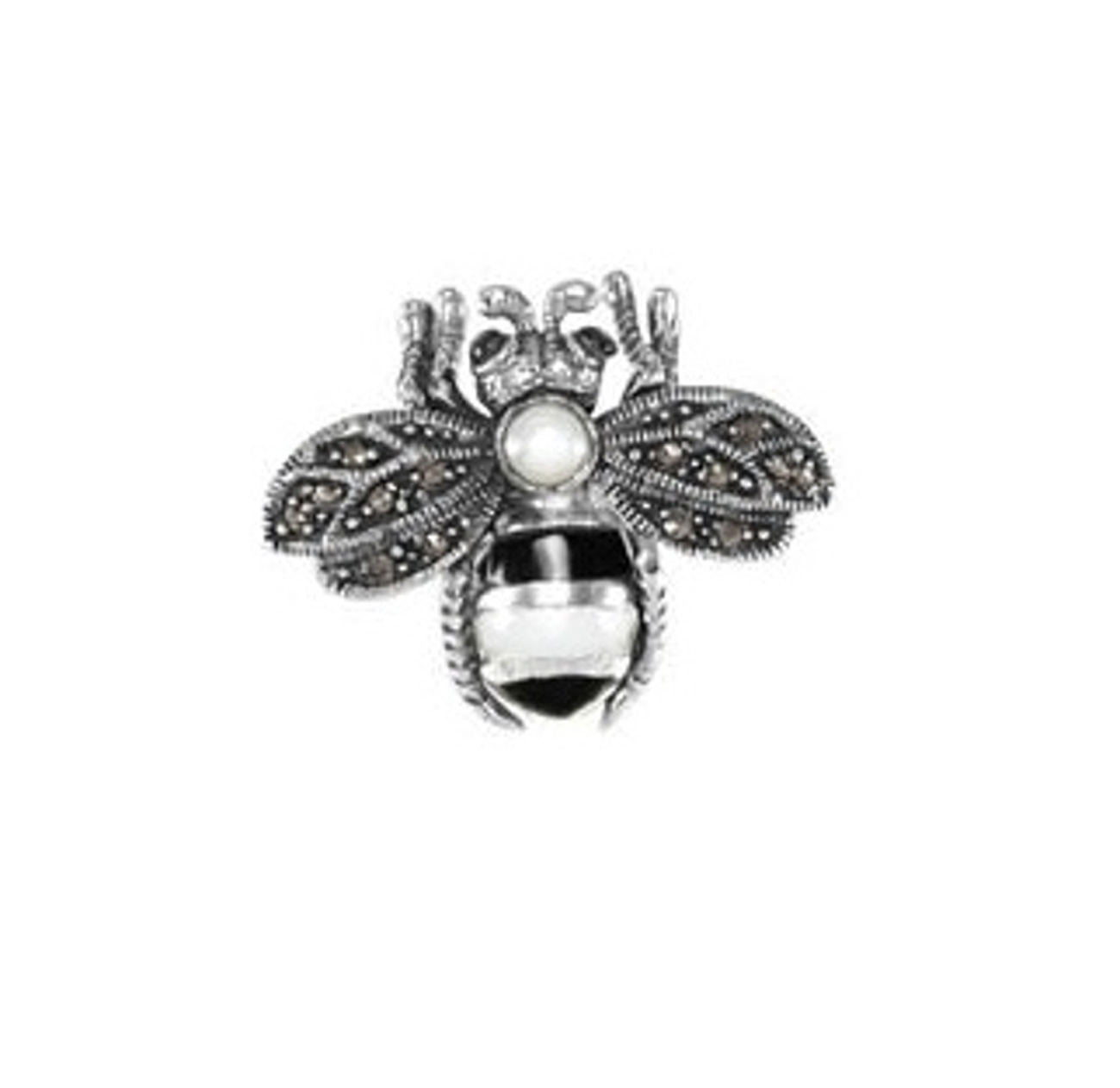 Marcasite Mother Of Pearl Honey Or Bumble Bee Brooch Pin