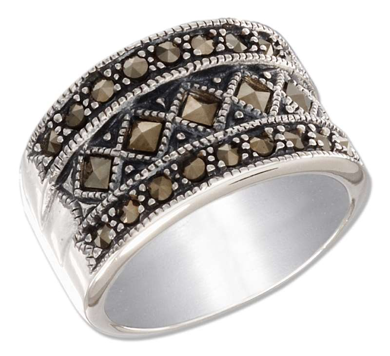Marcasite Illusion Of Triple Bands Cocktail Ring