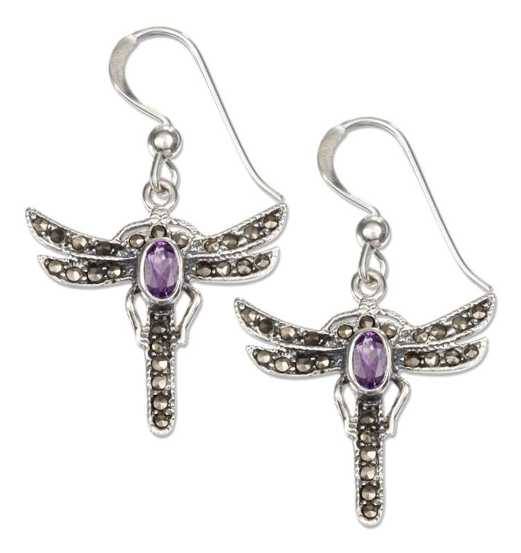 Marcasite Amethyst Dragonfly Dangle Earrings