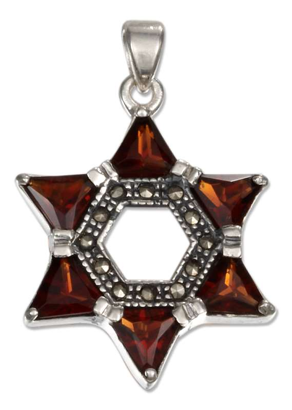 Marcasite Garnet Star Of David Pendant