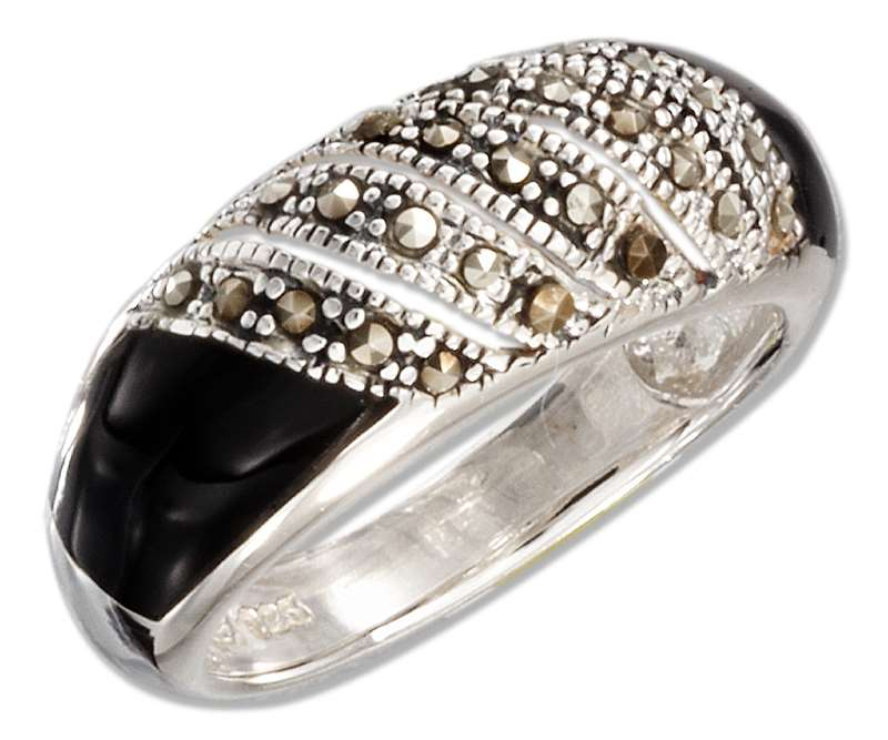 Marcasite Black Onyx Dome Ring