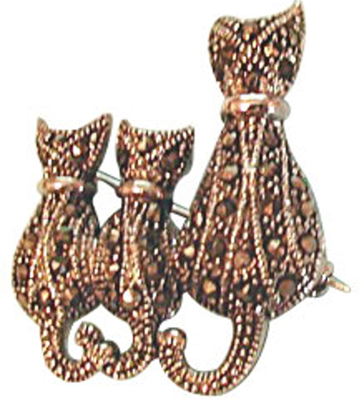 Marcasite Mother Cat With Kittens Animal Brooch Pin