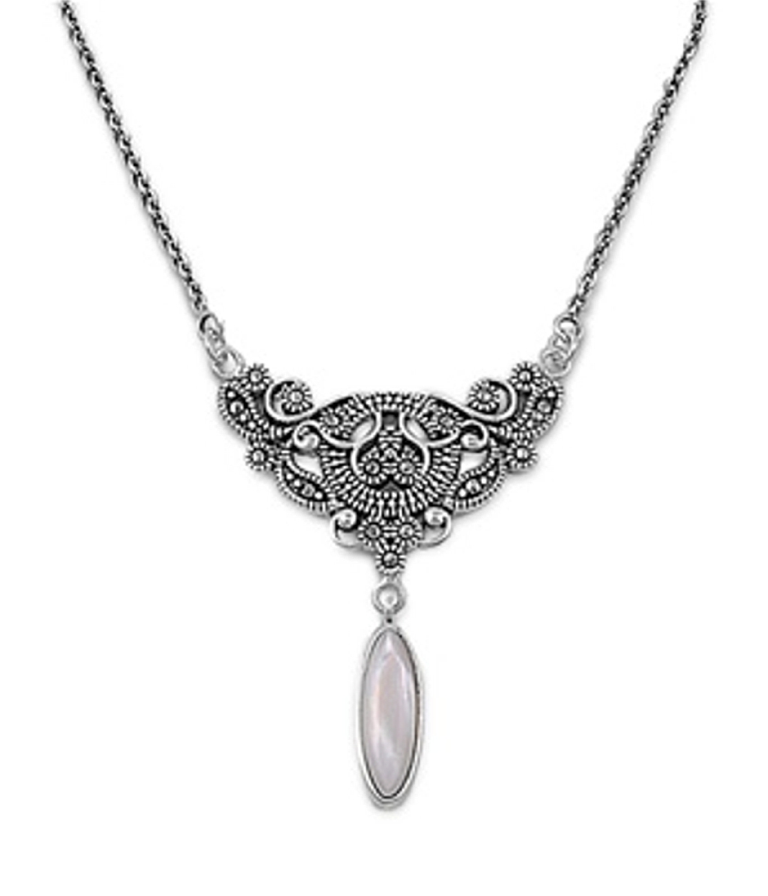 "18"" Marcasite Design Pendant Necklace With Mother Of Pearl Drop"