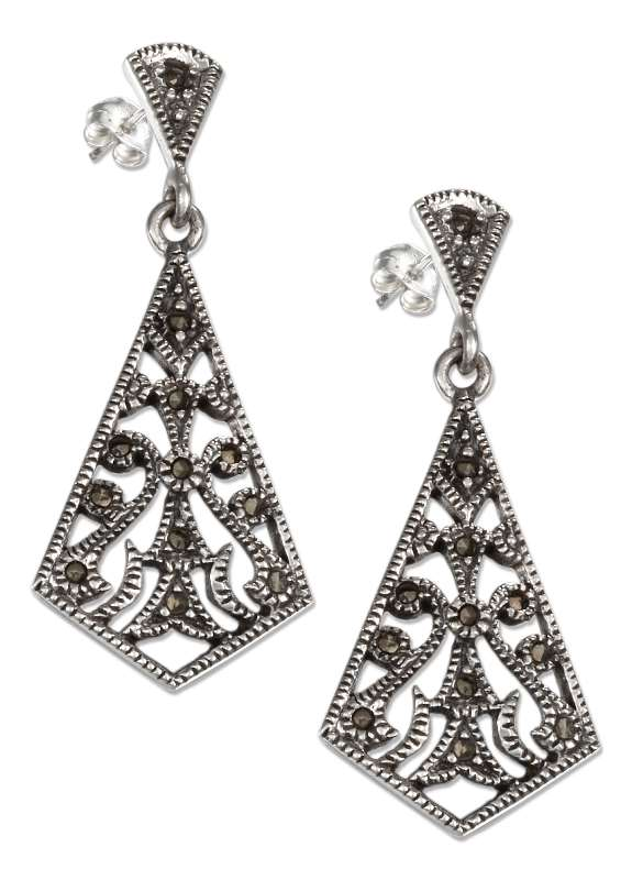 Marcasite Filigree Fan Post Dangle Earrings