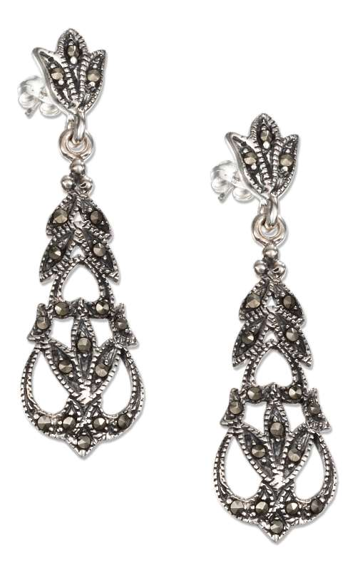 Marcasite Floral Post Earrings Tapered Filigree Dangle