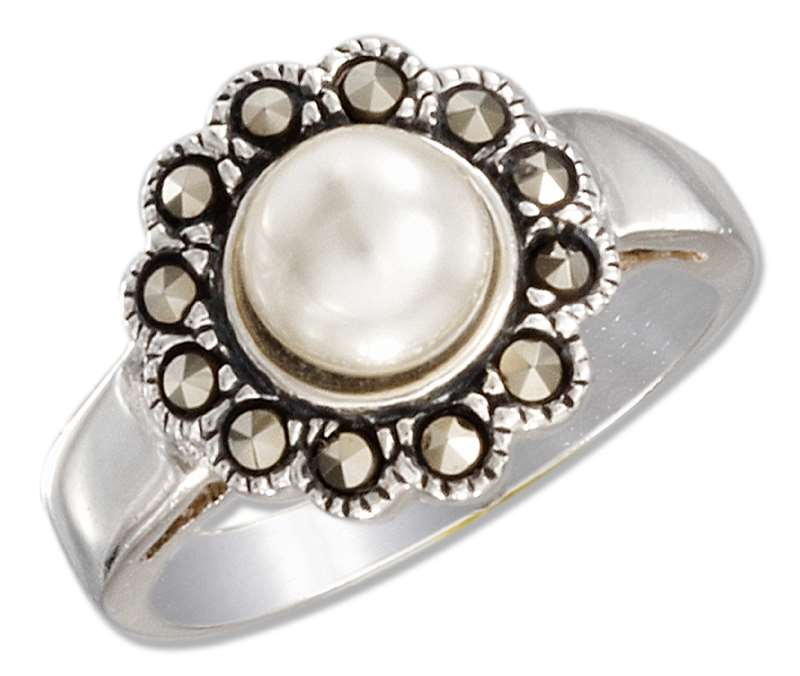 Marcasite Flower Faux White Pearl Ring