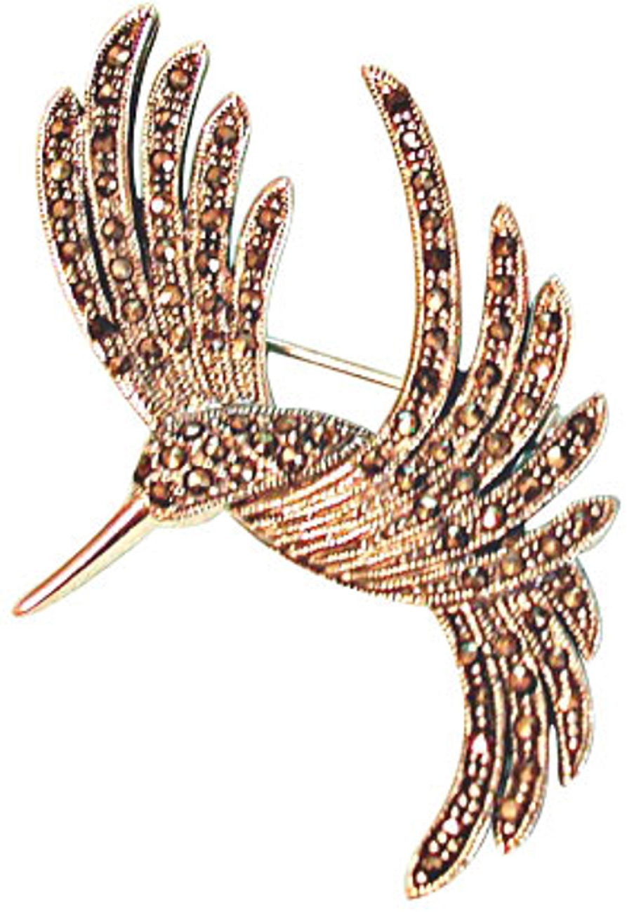 Marcasite Flying Hummingbird Animal Brooch Pin