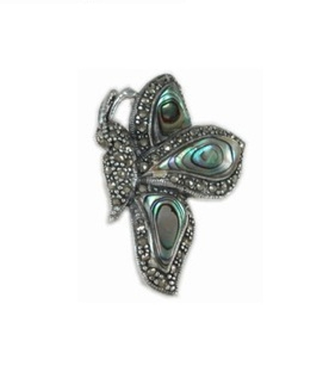 Marcasite Paua Abalone Shell Side View Butterfly Brooch Pin