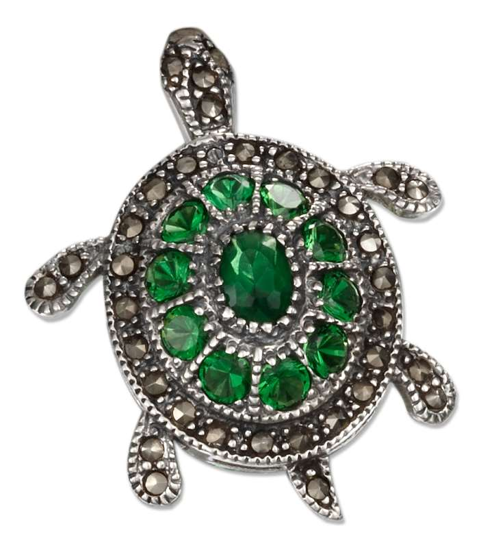 Marcasite Green Cubic Zirconia Sea Turtle Pin Brooch
