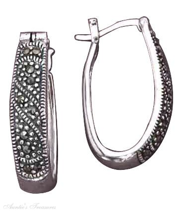 Elongated Marcasite Oval Hoop Earrings