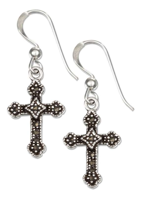 Marcasite Christian Religious Cross Dangle Earrings