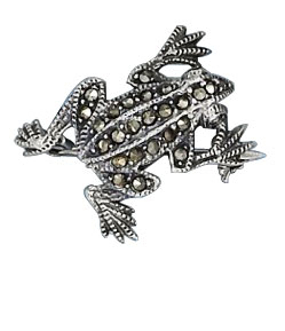 Small Marcasite Toad Frog Pin Brooch