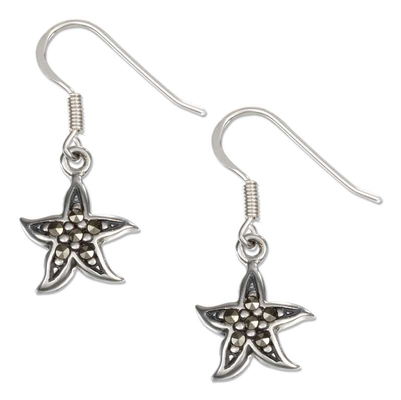 Marcasite Starfish Dangle Earrings