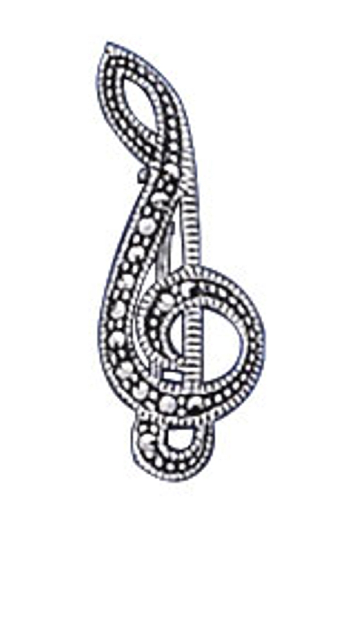 Marcasite Treble Clef Pin Brooch