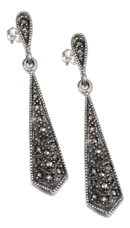 Marcasite Upside Down Teardrop Post Earrings