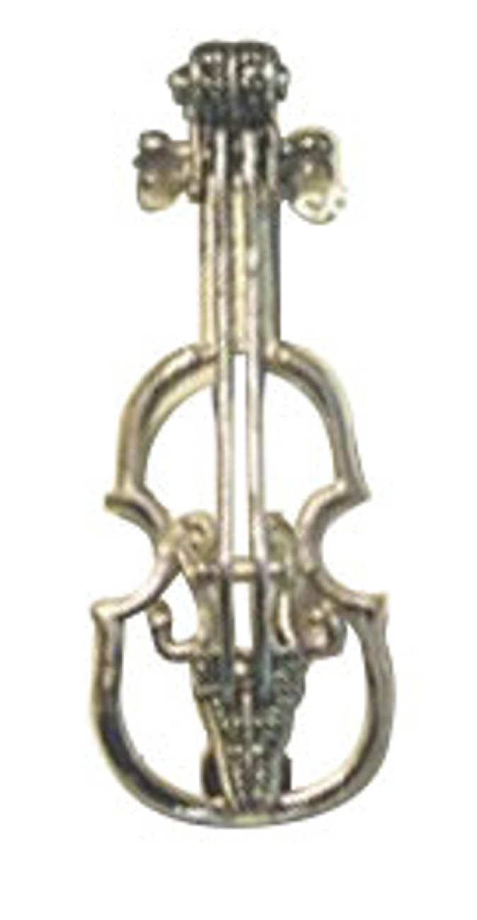 Marcasite Violin Or Fiddle Lapel Pin Brooch
