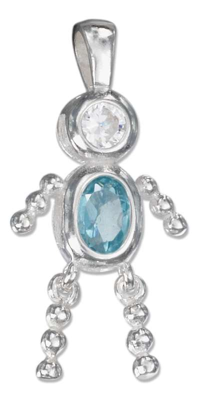 March Birthstone Brat Child Baby Boy Charm Pendant