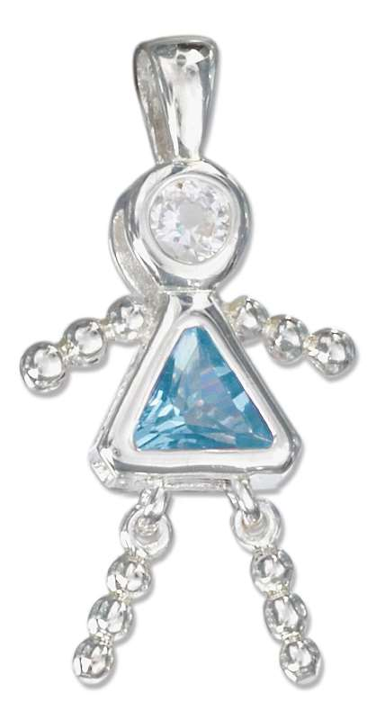 March Birthstone Brat Child Baby Girl Charm Pendant