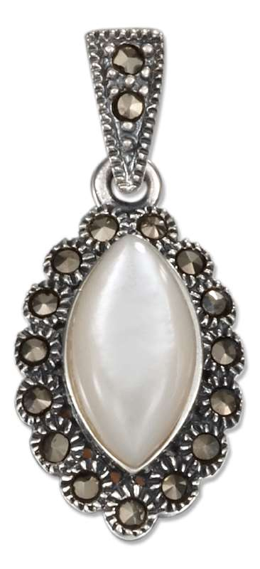 Marquise Mother Of Pearl Pendant Marcasite