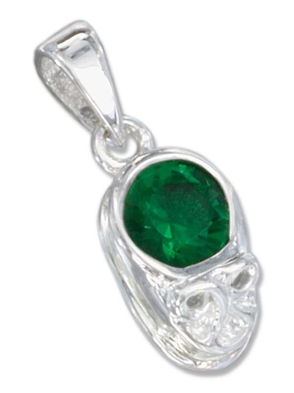 Small May Birthstone Baby Shoe Pendant