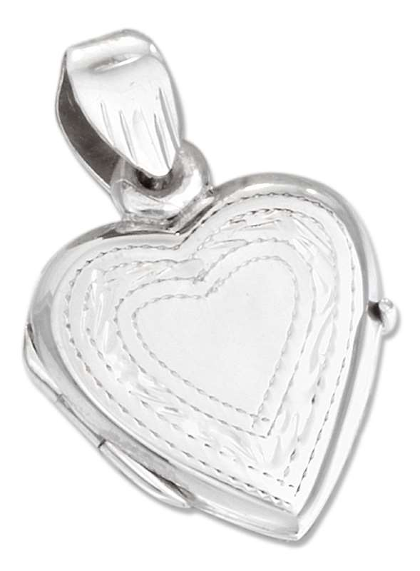 Small Etched Border Heart Locket Pendant