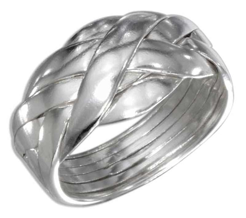 Unisex Woven 6 Piece Band Puzzle Ring