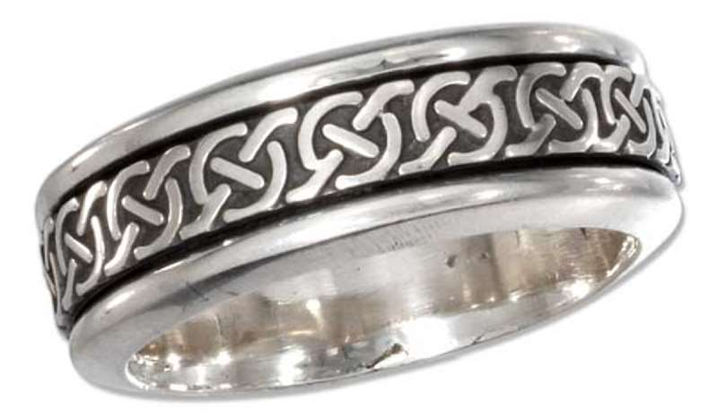 Men's 7mm Wide Band Celtic Knot With Circles Spinner Ring