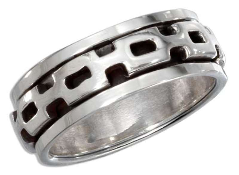 Men's 7mm Wide Band Chain Link Spinner Ring