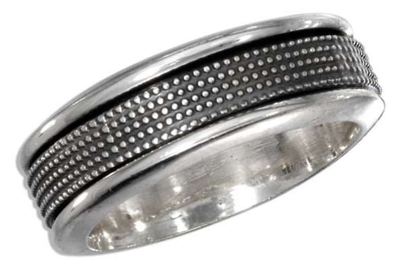Men's 7mm Wide Band With Textured Dots Spinner Ring