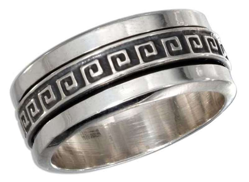 Men's Wide 9.5mm Band Greek Key Spinner Ring