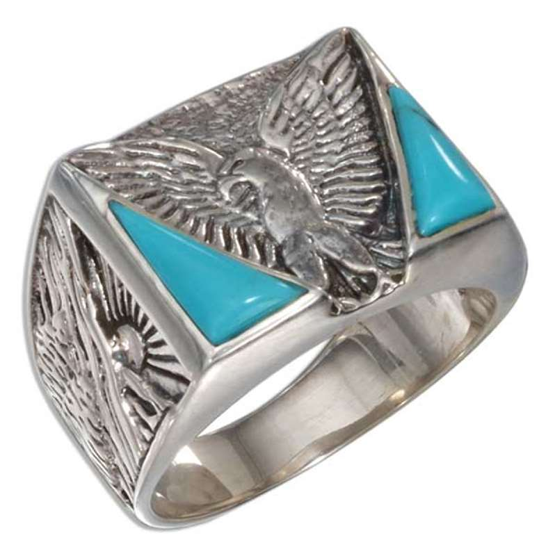 Men's Turquoise Eagle Ring