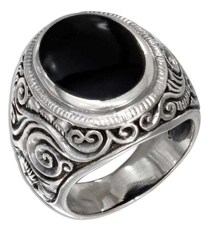 Men's Black Onyx Scrolled Vine Ring