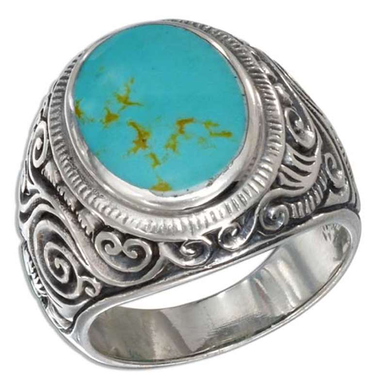 Men's Turquoise Scrolled Vine Ring