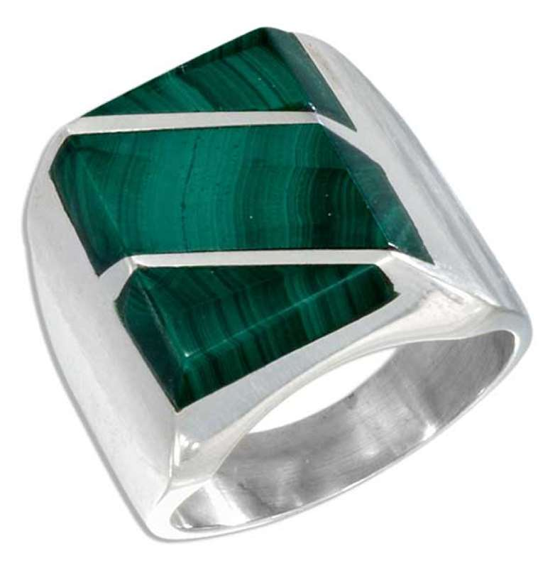 Men's Striped Malachite Stone Ring