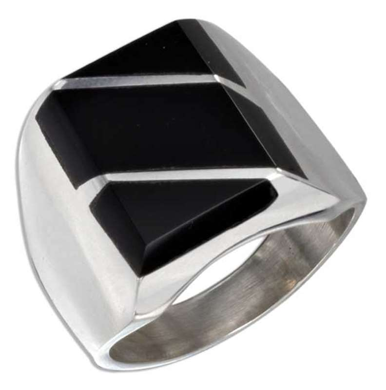 Men's Black Onyx Striped Ring