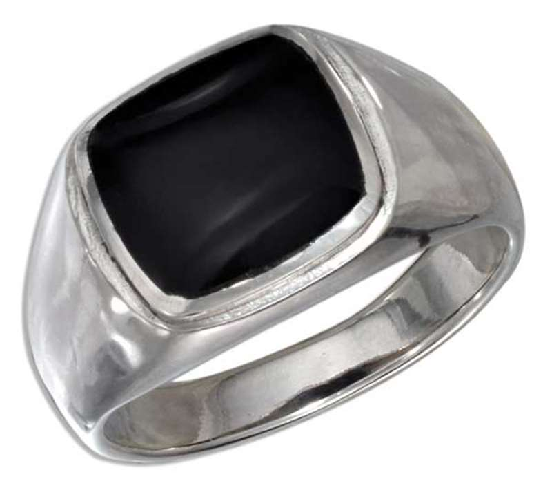 Men's Black Onyx Ring A Square Black Onyx Stone