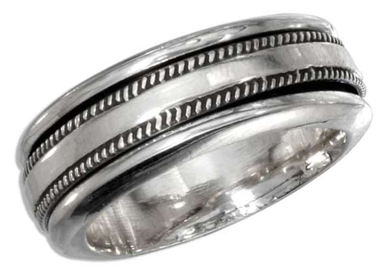 Men's 7mm Wide Plain With Knurled Edge Spinner Ring