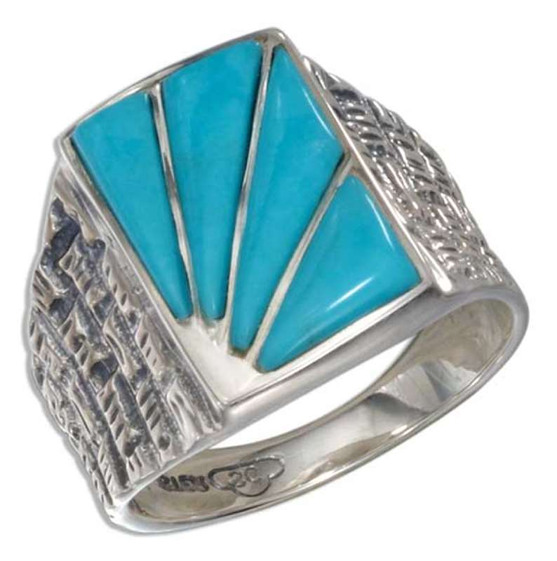Men's Burst Design Turquoise Ring