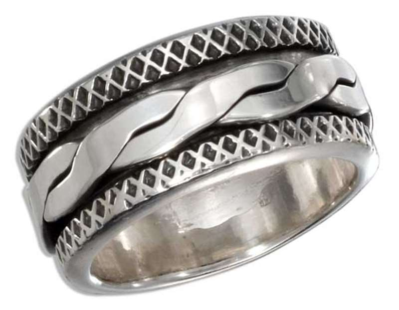 Men's Wide Rope Spinner Ring