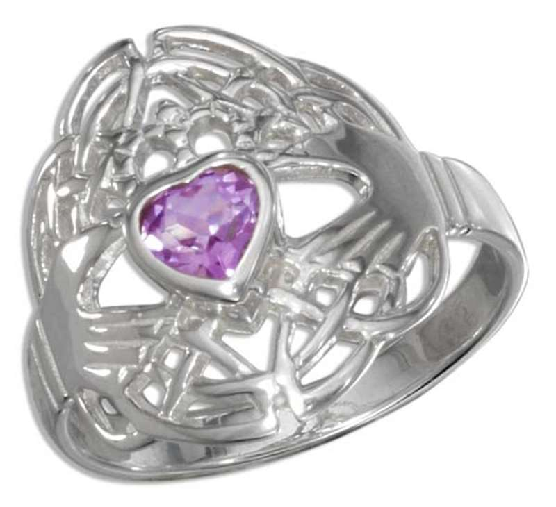 Celtic Claddagh Solitaire Amethyst Ring