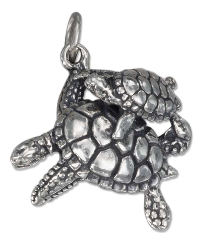 3D Mom Baby Turtle Charm