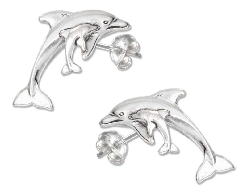 Mom Baby Dolphin Post Earrings