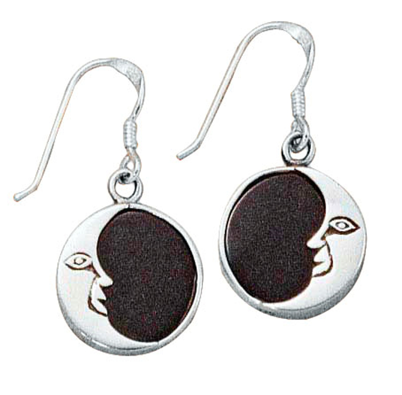 Moon Black Onyx Dangle Earrings